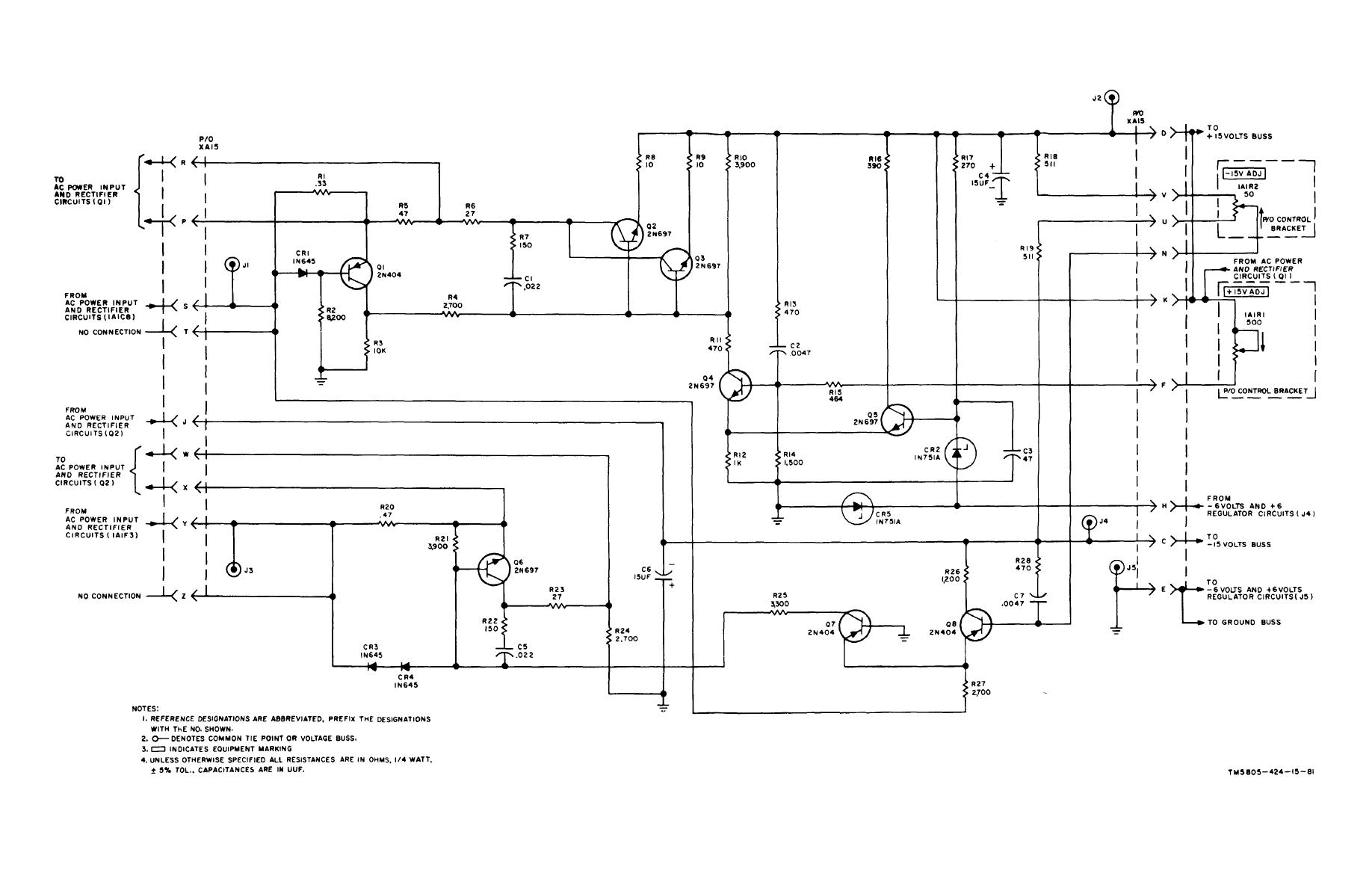 figure 8 19 15 volt power supply regulator circuits assembly a15 pc 80034160 schematic diagram
