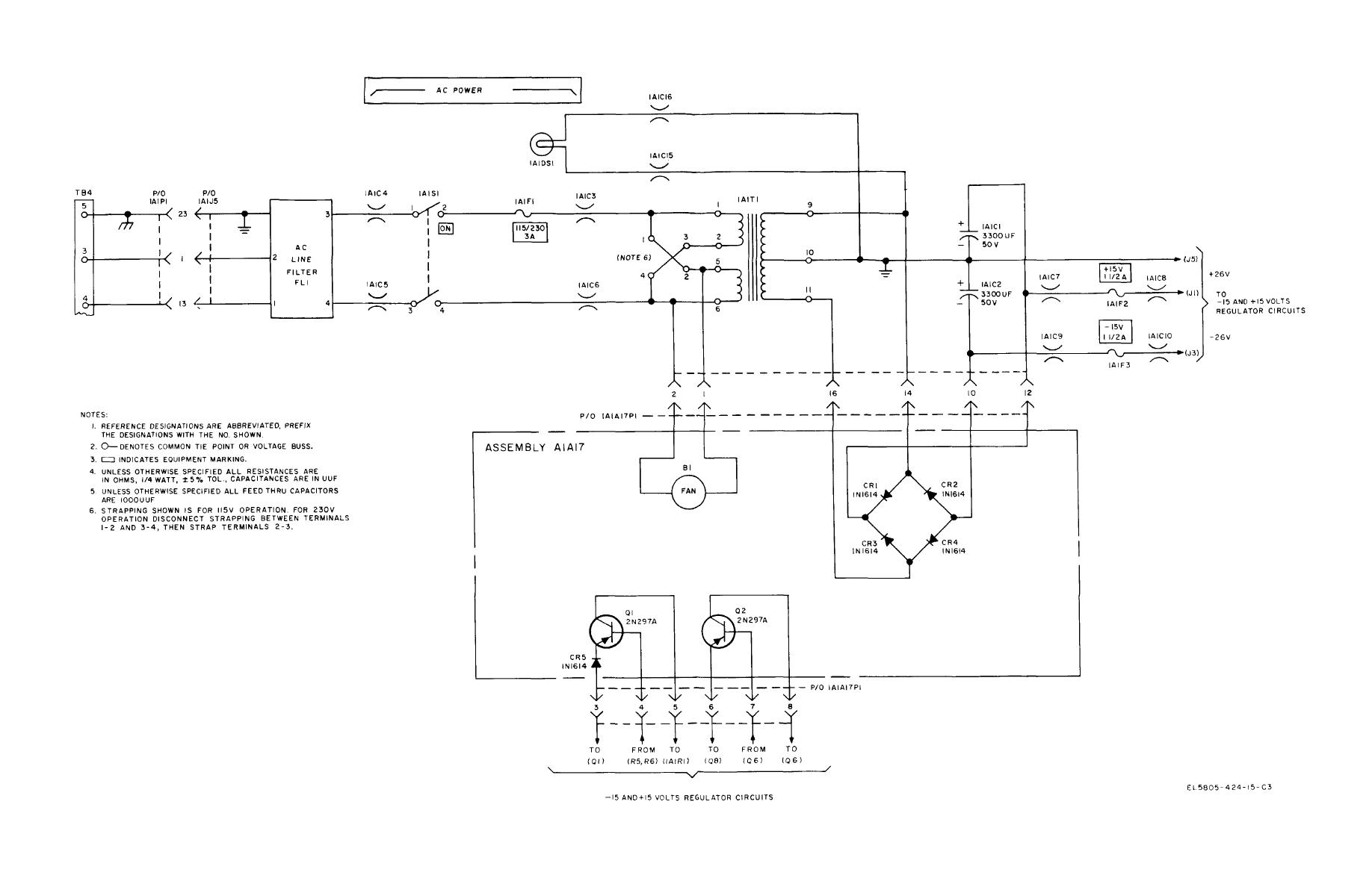 Figure 8-20. Ac power and rectifier circuit, modem chis ... on